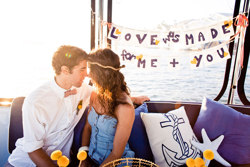 love boat weddingengagement theme blue and yellow